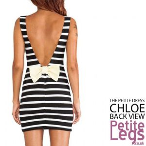 Chloe Petite Height Stripe Mini Dress with Low Back Bow detail | UK Size 4-8